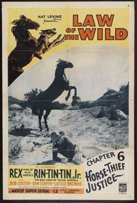 """Law of the Wild (Mascot, 1934). One Sheet (27"""" X 41"""") Chapter 6 -- """"Horse-Thief Justice"""". Western Se..."""