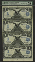Large Size:Silver Certificates, Fr. 226a $1 1899 Silver Certificate Uncut Sheet of Four PMG AboutUncirculated 55 EPQ. This is a perfectly original, problem...