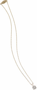 Estate Jewelry:Necklaces, Diamond, Gold Solitaire Pendant. The pendant features a round brilliant-cut diamond measuring 8.00 x 7.80 x 4.55 mm and we...