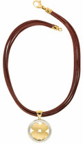 """Estate Jewelry:Necklaces, Gold, Stainless Steel, Leather Cord Necklace, Bvlgari. The pendant from the """"Tondo"""" Collection, features an 18k yellow gol..."""