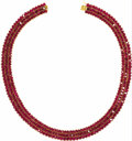 Estate Jewelry:Necklaces, Ruby, Gold Necklace. The necklace features oval-shaped rubiesmeasuring 5.00 x 3.00 mm and weighing a total of approximate...
