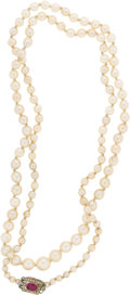 Estate Jewelry:Pearls, Diamond, Ruby, Cultured Pearl, Platinum Necklace. The necklace is composed of semi-baroque cultured pearls ranging in size...