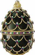 Estate Jewelry:Objects d'Art, Diamond, Ruby, Sapphire, Emerald, Nephrite Jade, Gold Sculpture. The tabletop sculpture is crafted in the form of a three ...
