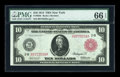 Large Size:Federal Reserve Notes, Fr. 893b $10 1914 Red Seal Federal Reserve Note PMG Gem Uncirculated 66 EPQ....