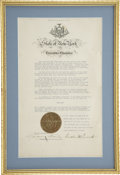 """Autographs:U.S. Presidents, Franklin D. Roosevelt: Executive Proclamation Signed as New YorkGovernor.. -March 11, 1930. 9.5"""" x 16"""", matted and framed t..."""