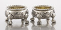 Silver Holloware, British:Holloware, A PAIR OF GEORGE III SILVER SALTS. William Fountain, London,England, 1813-1814. Marks: (lion passant), (crowned leopard's h...(Total: 2 Items)