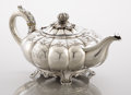 Silver Holloware, American:Tea Pots, A GEORGE IV SILVER MELLON TEA POT. Rebecca Emes and Edward Barnard,London, England, 1824. Marks: (lion passant), (leopard's...