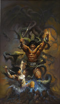 Mainstream Illustration, KEN KELLY (American b.1946). Conan and the Emerald Lotus,paperback cover, 1996. Oil on masonite. 40.5 x 24 in.. Signed...