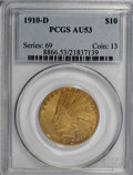Indian Eagles: , 1910-D $10 AU53 PCGS. PCGS Population (35/6183). NGC Census:(13/7597). Mintage: 2,356,640. Numismedia Wsl. Price for NGC/P...