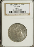 Bust Half Dollars: , 1812/1 50C Small 8 XF45 NGC. O-102A. NGC Census: (14/56). PCGSPopulation (10/52). Numismedia Wsl. Price for NGC/PCGS coi...