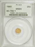 California Fractional Gold: , 1880 25C Indian Octagonal 25 Cents, BG-799Y, High R.4, MS64 PCGS.PCGS Population (21/2). NGC Census: (5/2). (#10651). ...