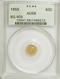 California Fractional Gold: , 1855 50C Liberty Round 50 Cents, BG-405, R.5, AU58 PCGS. PCGSPopulation (10/14). NGC Census: (0/3). (#10441). From The...