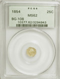 California Fractional Gold: , 1854 25C Liberty Octagonal 25 Cents, BG-108, Low R.4, MS62 PCGS.PCGS Population (39/50). NGC Census: (4/10). (#10377). ...