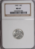 Roosevelt Dimes: , 1963 10C MS67 NGC. NGC Census: (229/0). PCGS Population (34/0).Mintage: 123,600,000. Numismedia Wsl. Price for NGC/PCGS co...