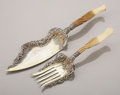 Silver Flatware, American:Whiting, AN AMERICAN SILVER GILT AND IVORY FISH SLICE AND FORK. WhitingManufacturing Co., New York, New York, circa 1890. Marks: (W ...(Total: 2 Items)