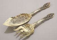 AN AMERICAN SILVER GILT FISH SLICE AND FORK Dominick & Haff, New York, New York, circa 1885 Marks: (rectangle-c...