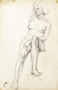 Fine Art - Work on Paper:Drawing, Studio of ANDRÉ DERAIN (French, 1880-1954). Seated Model.Charcoal on laid Ingres d'Arches BMB paper. 19-5/8 x 13 inches...