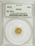 California Fractional Gold: , 1875 50C Indian Octagonal 50 Cents, BG-934, R.4, MS60 PCGS. PCGSPopulation (1/48). NGC Census: (0/14). (#10792). From ...