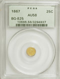 California Fractional Gold: , 1867 25C Liberty Round 25 Cents, BG-825, R.4, AU58 PCGS. PCGSPopulation (10/56). NGC Census: (0/8). (#10686). From The...