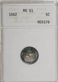 Seated Half Dimes: , 1862 H10C MS61 ANACS. NGC Census: (26/463). PCGS Population(15/422). Mintage: 1,492,550. Numismedia Wsl. Price for NGC/PCG...