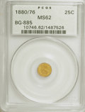 California Fractional Gold: , 1880/76 25C Indian Round 25 Cents, BG-885, R.3, MS62 PCGS. PCGSPopulation (28/125). NGC Census: (6/21). (#10746). From...