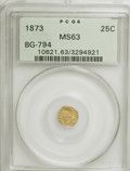 California Fractional Gold: , 1873 25C Indian Octagonal 25 Cents, BG-794, High R.5, MS63 PCGS.PCGS Population (5/16). NGC Census: (0/1). (#10621). F...
