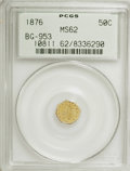 California Fractional Gold: , 1876 50C Indian Octagonal 50 Cents, BG-953, R.5, MS62 PCGS. PCGSPopulation (2/23). NGC Census: (0/1). (#10811). From T...