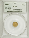 California Fractional Gold: , 1853 50C Liberty Round 50 Cents, BG-428, R.3, AU58 PCGS. PCGSPopulation (61/148). NGC Census: (5/26). (#10464). From T...