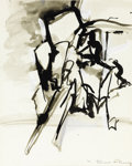 Fine Art - Work on Paper:Drawing, ELAINE DE KOONING (American, 1919-1989). Abstract, 1970.Tempera on paper. 13-1/4 x 10-1/2 inches (33.7 x 26.7 cm). Sign...