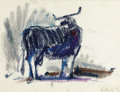 Fine Art - Work on Paper:Drawing, ELAINE DE KOONING (American, 1919-1989). Blue Bull. Temperaon paper. 8-1/2 x 11-1/4 inches (21.6 x 28.6 cm). Initialed ...