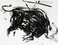Prints, ELAINE DE KOONING (American, 1919-1989). Untitled (Bull). Lithograph on Arches buff. 20 x 25 inches (50.8 x 63.5 cm). Ed...