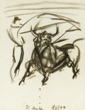 Fine Art - Work on Paper:Drawing, ELAINE DE KOONING (American, 1919-1989). Charging BullSketch, 1974. Charcoal on paper. 12 x 9 inches (30.5 x 22.9cm). ...