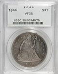 Seated Dollars: , 1844 $1 VF35 PCGS. PCGS Population (5/141). NGC Census: (1/114).Mintage: 20,000. Numismedia Wsl. Price for NGC/PCGS coin i...