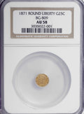 California Fractional Gold: , 1871 25C Liberty Round 25 Cents, BG-809, Low R.4, AU58 NGC. NGCCensus: (1/13). PCGS Population (7/91). (#10670)...