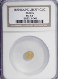 California Fractional Gold: , 1870 25C Liberty Round 25 Cents, BG-835, R.3, MS61 NGC. NGC Census:(3/19). PCGS Population (29/86). (#10696)...