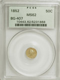 California Fractional Gold: , 1852 50C Liberty Round 50 Cents, BG-407, R.4, MS62 PCGS. PCGSPopulation (28/13). NGC Census: (3/3). (#10443). From The...