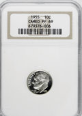 Proof Roosevelt Dimes: , 1955 10C PR69 Cameo NGC. NGC Census: (22/0). PCGS Population (2/0).(#85230)...
