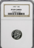 Proof Roosevelt Dimes: , 1957 10C PR69 Cameo NGC. NGC Census: (91/0). PCGS Population(10/0). Numismedia Wsl. Price for NGC/PCGS coin in PR69: $320...