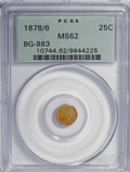 California Fractional Gold: , 1878/6 25C Indian Round 25 Cents, BG-883, High R.4, MS62 PCGS. PCGSPopulation (4/46). NGC Census: (3/6). (#10744). Fro...