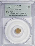 California Fractional Gold: , 1870 25C Liberty Octagonal 25 Cents, BG-761, R.4, MS61 PCGS. PCGSPopulation (8/32). NGC Census: (0/5). (#10588). From ...