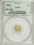 California Fractional Gold: , 1853 $1 Liberty Octagonal 1 Dollar, BG-530, R.2, AU55 PCGS. PCGSPopulation (70/192). NGC Census: (2/46). (#10507). Fro...
