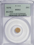 California Fractional Gold: , 1876 25C Indian Round 25 Cents, BG-853, Low R.5, MS62 PCGS. PCGSPopulation (13/26). NGC Census: (1/3). (#10714). From ...