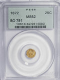 California Fractional Gold: , 1872 25C Indian Octagonal 25 Cents, BG-791, R.3, MS62 PCGS. PCGSPopulation (37/180). NGC Census: (4/40). (#10618). Fro...