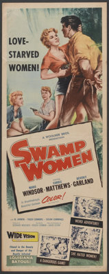 "Swamp Women (Woolner Brothers, 1956). Insert (14"" X 36"") and Lobby Cards (4) (11"" X 14""). Crime..."