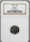 Proof Roosevelt Dimes: , 1958 10C PR67 NGC. NGC Census: (176/168). PCGS Population (162/86).Mintage: 875,652. Numismedia Wsl. Price for NGC/PCGS co...