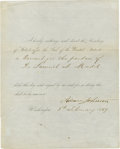 "Autographs:U.S. Presidents, Andrew Johnson Partly Printed Document Signed: ""I hereby authorizeand direct the Secretary of State to affix the Seal of the ..."