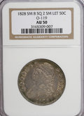 Bust Half Dollars, 1828 50C Small 8, Square Base 2, Small Letters AU50 NGC. O-119....