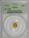 California Fractional Gold: , 1875 25C Indian Octagonal 25 Cents, BG-798, Low R.5, MS64 PCGS.PCGS Population (20/5). (#10625). Fr...