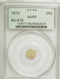 California Fractional Gold: , 1872 25C Liberty Round 25 Cents, BG-816, R.6, AU55 PCGS. PCGSPopulation (1/15). NGC Census: (0/1). (#10677). From The ...