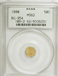 California Fractional Gold: , 1880 50C Indian Octagonal 50 Cents, BG-954, Low R.4, MS62 PCGS.PCGS Population (22/68). NGC Census: (5/10). (#10812). ...